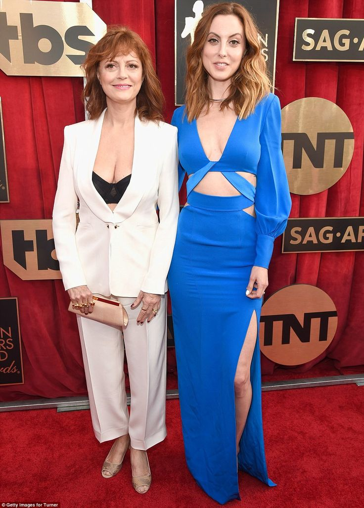 Double act: Susan Sarandon was joined by her daughter Eva Amurri Martino (in Gabriela Cadena), and they both showed a hint of stomach