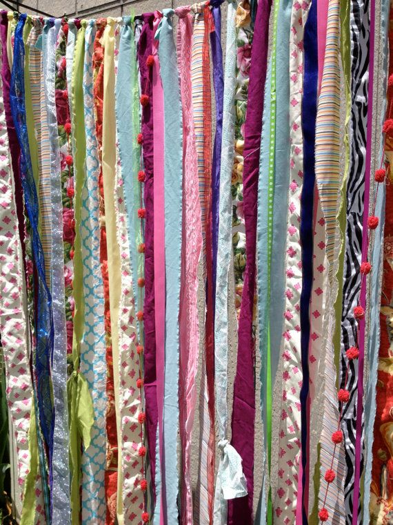 Boho gypsy fabric garland streamers curtain dorm teen for Background curtain decoration