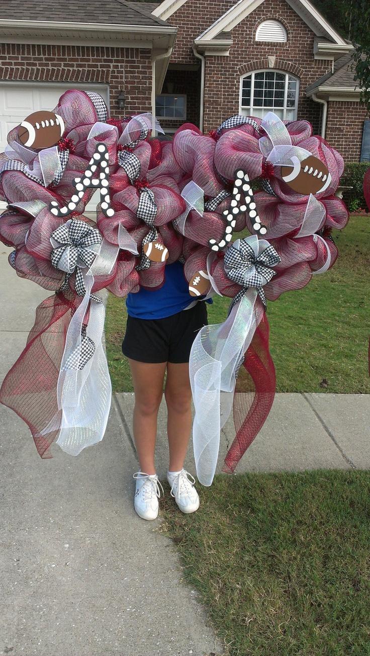 Goegeous Alabama Football Hpundstooth Deco Mesh Door Wreath. $75.00, via Etsy.