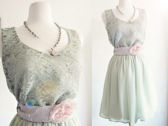 Robe chic rustique mariage pays vert sauge