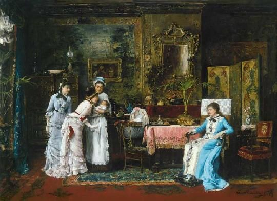 Munkácsy Mihály - A baba látogatói, 1879