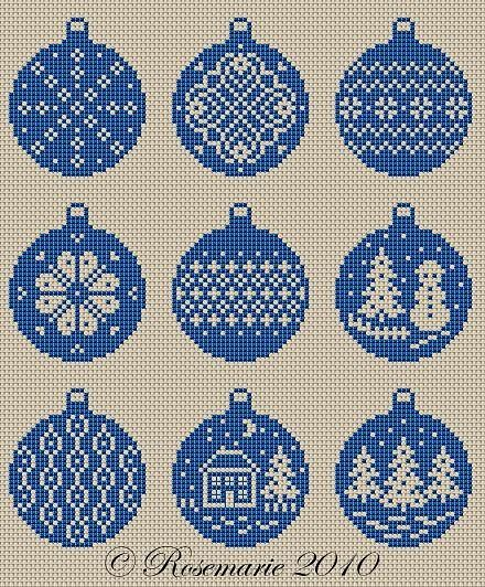 Christmas Ornaments Patterns, Hama/perler beads