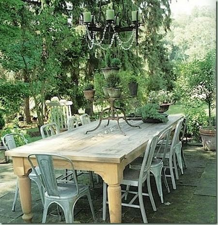 eat outside: Outdoor Chandelier, Dining Rooms, Ideas, Outdoor Tables, Farmhouse Tables, Gardens Parties, Metals Chairs, Outdoor Spaces, Farms Tables