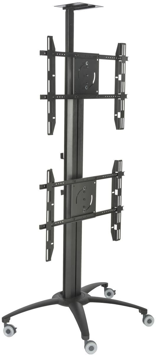 """Displays2go LPGP36WB2 Dual TV Stand, Single Sided, for 30-60"""" Flat Screen Monitors, Camera Tray. Dual TV stand features VESA mounts above and below eacother. Each VESA bracket can hold up to 99 lbs and fits a 30-60"""" HDTV screen. LED TV stand comes with a camera tray for video conferencing. 4 heavy duty wheels for mobility. Each TV bracket can rotate from landscape to portrait."""