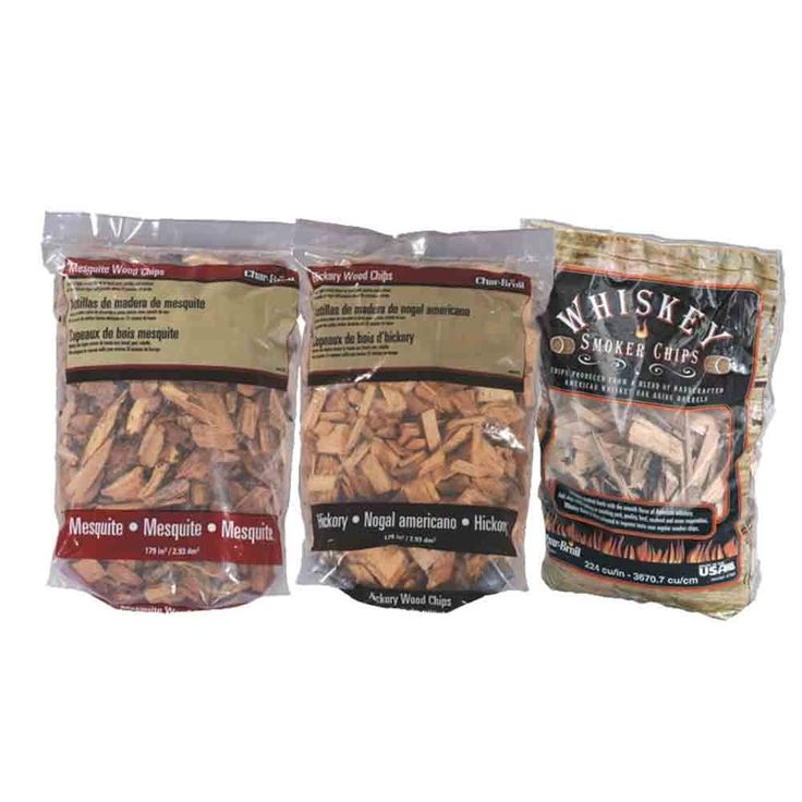 3-Pack Assortment of Smoker Chips - Hickory, Mesquite, Whiskey