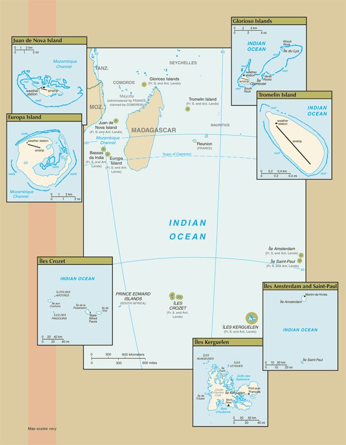 Map of the French Southern and Antarctic Lands. Adélie Land (in Antarctica) and Banc du Geyser and Bassas da India (in the Îles Éparses district) are not shown.