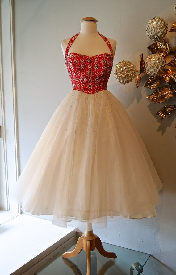 Vintage 50s Prom Dress / 1950s Red Halter Party by xtabayvintage, $248.00