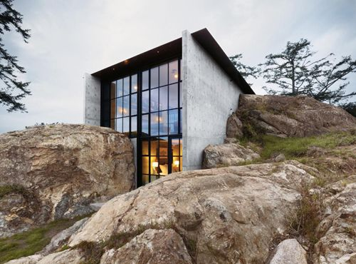 ...Kundig Architects, The Rocks, Green Roof, San Juan Islands, Architecture, Olson Kundig, Concrete House, Design, Stones House