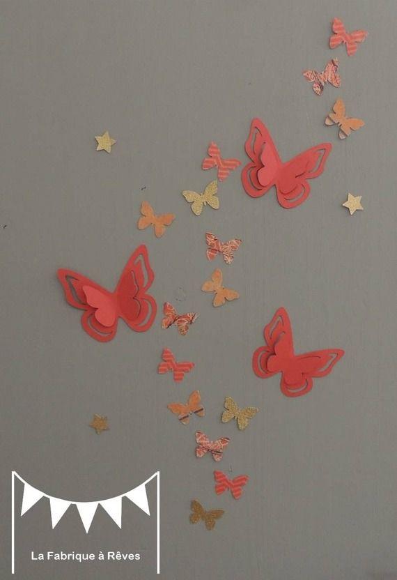 25 Stickers  papillons - corail abricot pêche gris et doré - décoration chambre enfant bébé fille - décoration pièce à vivre