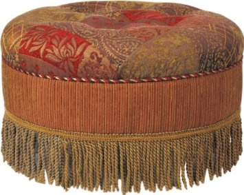 Jennifer Taylor Caravan Round Ottoman, Red And Brown Multicolored Awesome Design