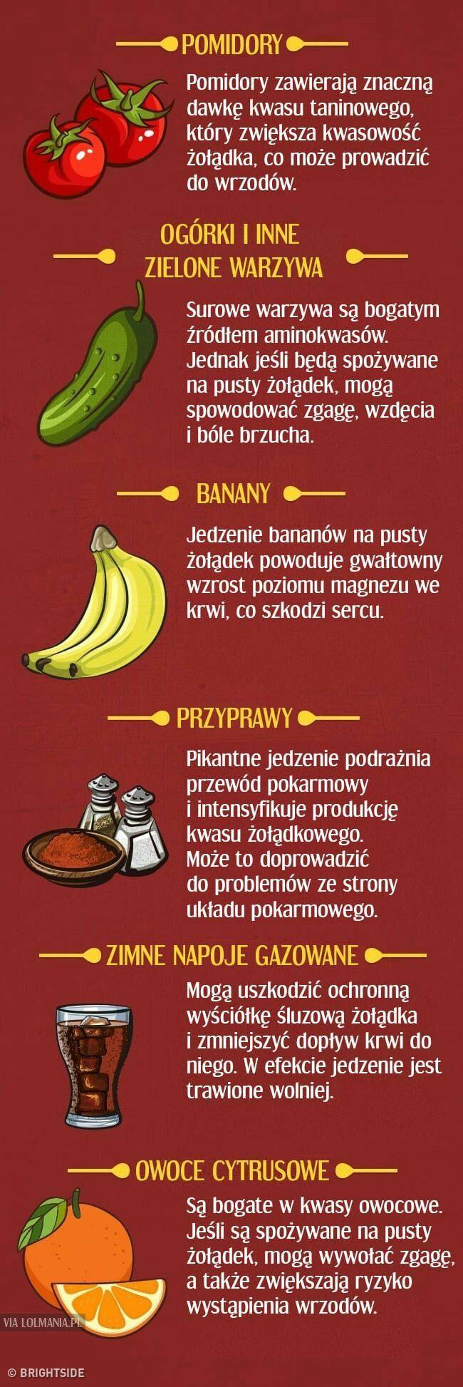 Produkty , które są korzystne lub  szkodliwe na pusty żołądek ( cz.2)