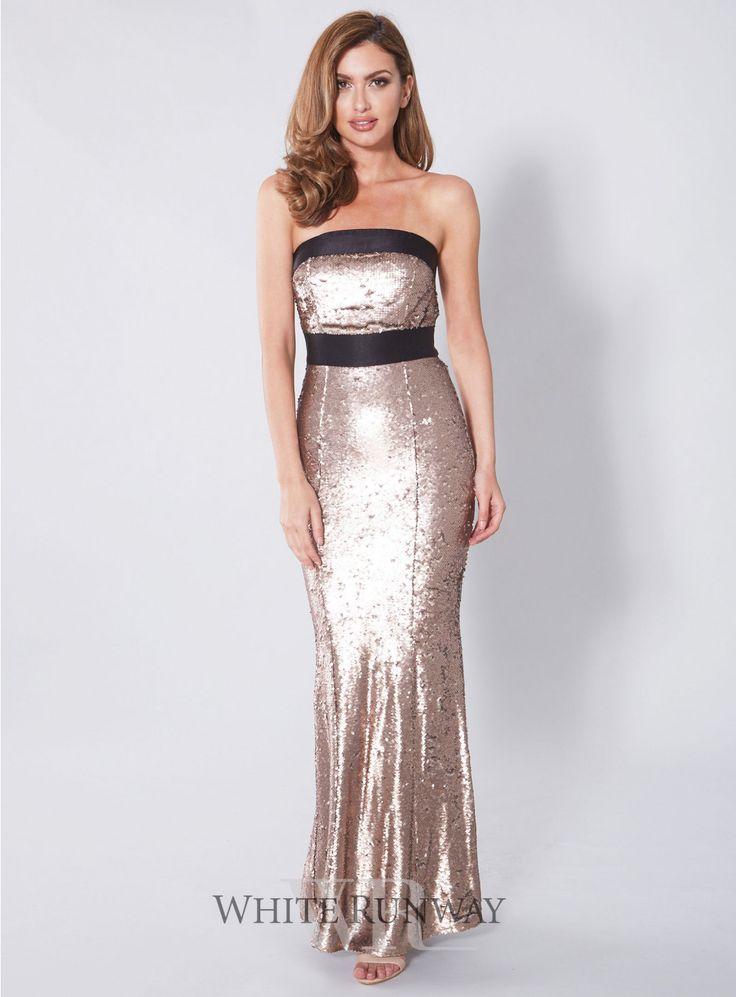 Hollywood Bandage Maxi. A stunning maxi dress by Romance The Label. A strapless style featuring gold sequins and black satin detailing on the bustline and waist.