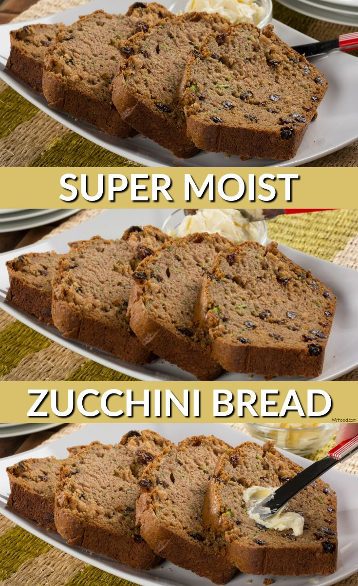 Homemade zucchini bread that's super moist and made with applesauce, cinnamon, and other yummy ingredients.
