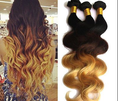 "Brazilian Real Human Hair Extensions Ombre Body Wave 12""-30"" 1b33#27# 50g/Bundle"