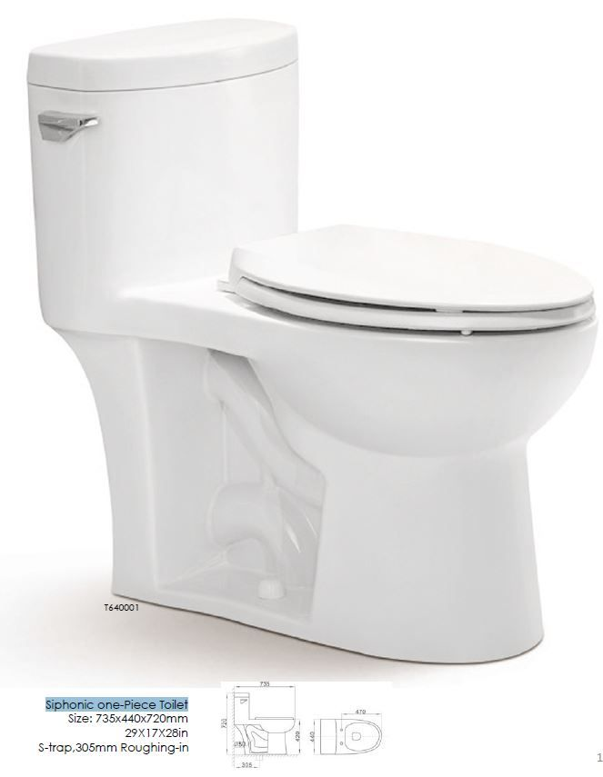 "Siphonic one-piece Toilet. Size 29 x 17 x 28"". S-trap. 305mm Roughing-in"