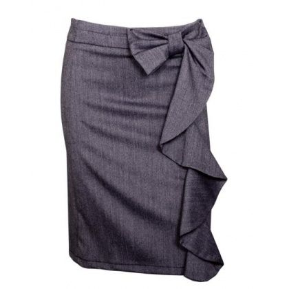 Pencil skirt with a ruffle bow! Adorable. #fashion