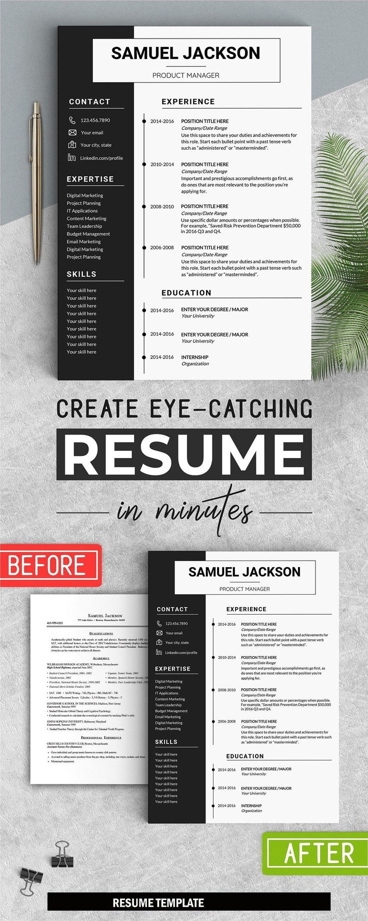Professional Resume, Instant Download CV, WORD, Cover