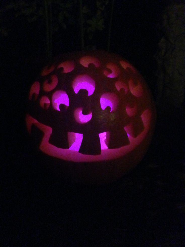 Spider pumpkin lit with LED balloon