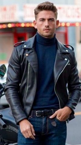 College boy looks good in classic leather jacket.