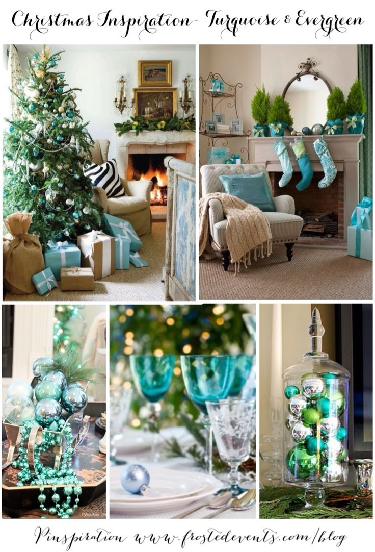 Christmas Inspiration- Turquoise & Evergreen www.frostedevents.com  Aqua blue and green decorations, Christmas tree ideas  #christmas #holiday #decorate