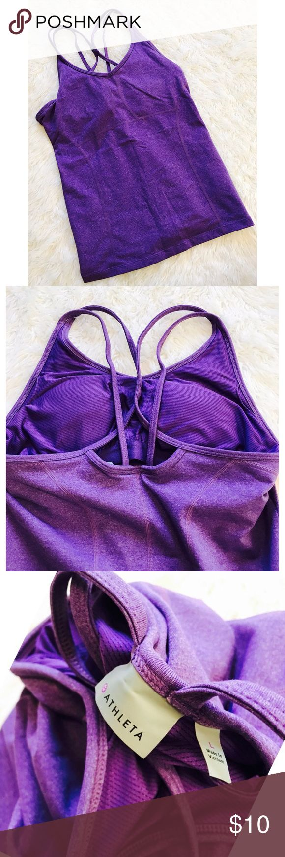 Purple Athleta Workout Tank Has Strappy back • purple • built in Bra • ships immediately Athleta Tops Tank Tops