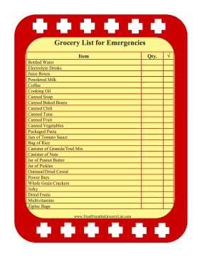 Snow Storm Grocery List