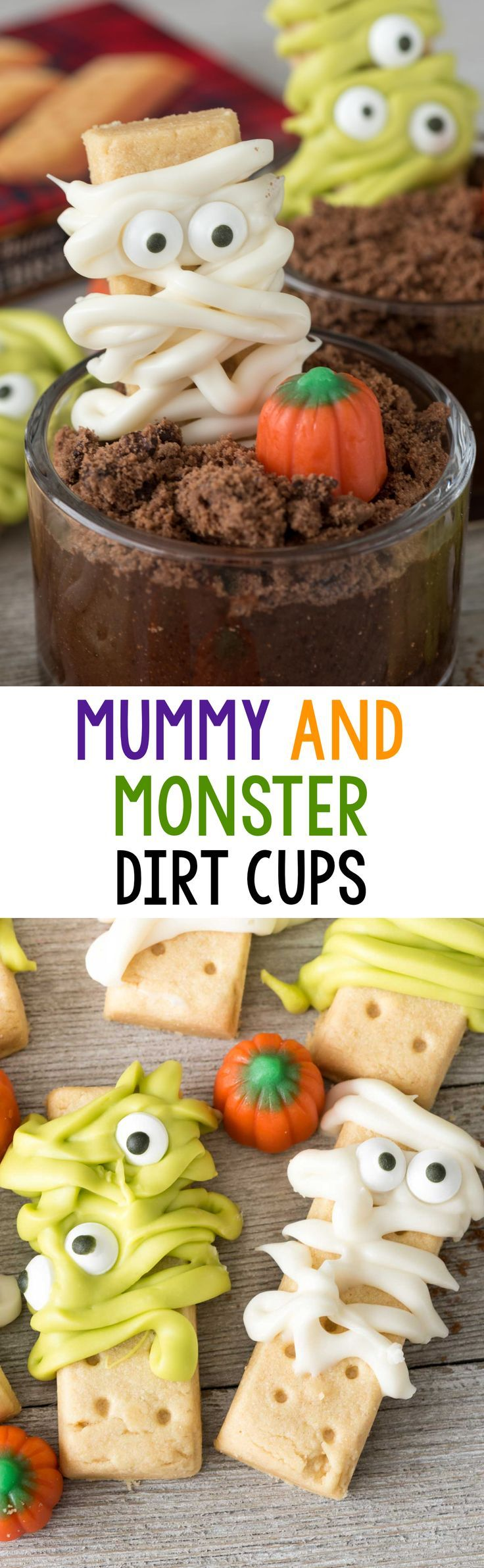 Easy Monster and Mummy Dirt Cups - make monsters and mummies out of shortbread cookies and melted candy! Stick them in an easy chocolate pudding dirt cup for a fun Halloween Treat.