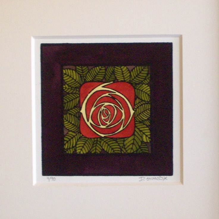 Another Rennie MacIntosh style rose in the Arts and Crafts era style. Linoleum block print. Print size is approx 6x6 inches. Ordering information from Art Etc @ 530-895-1161.