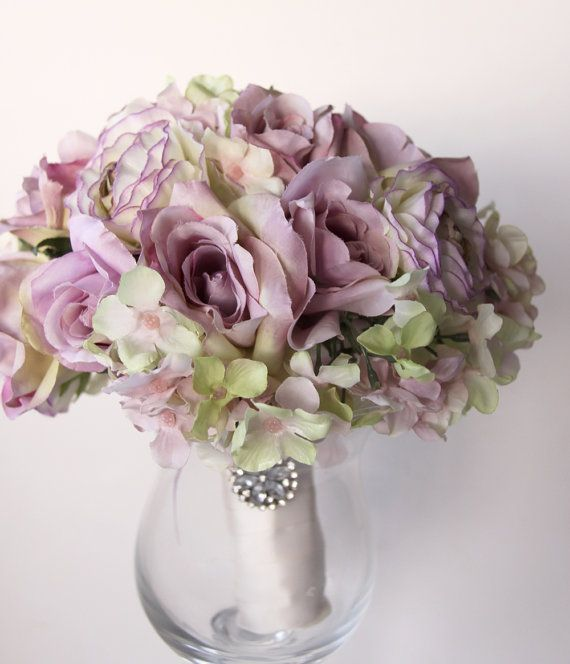 Bridal Bouquet, Vintage Wedding, Lilac Roses Green Lilac Hydrangea, English Garden