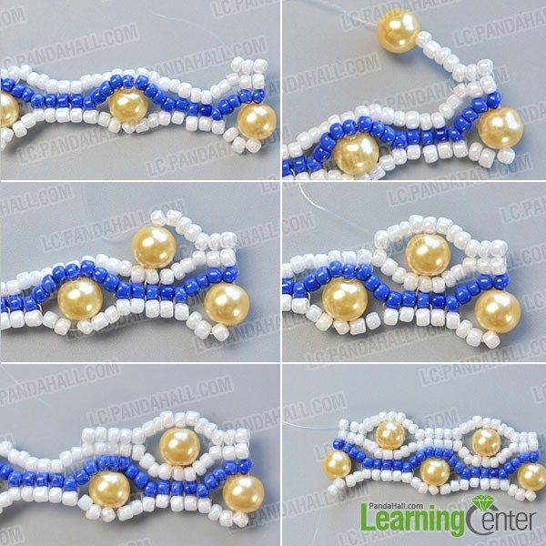 make the sixth part of the blue seed bead stitch wide bracelet