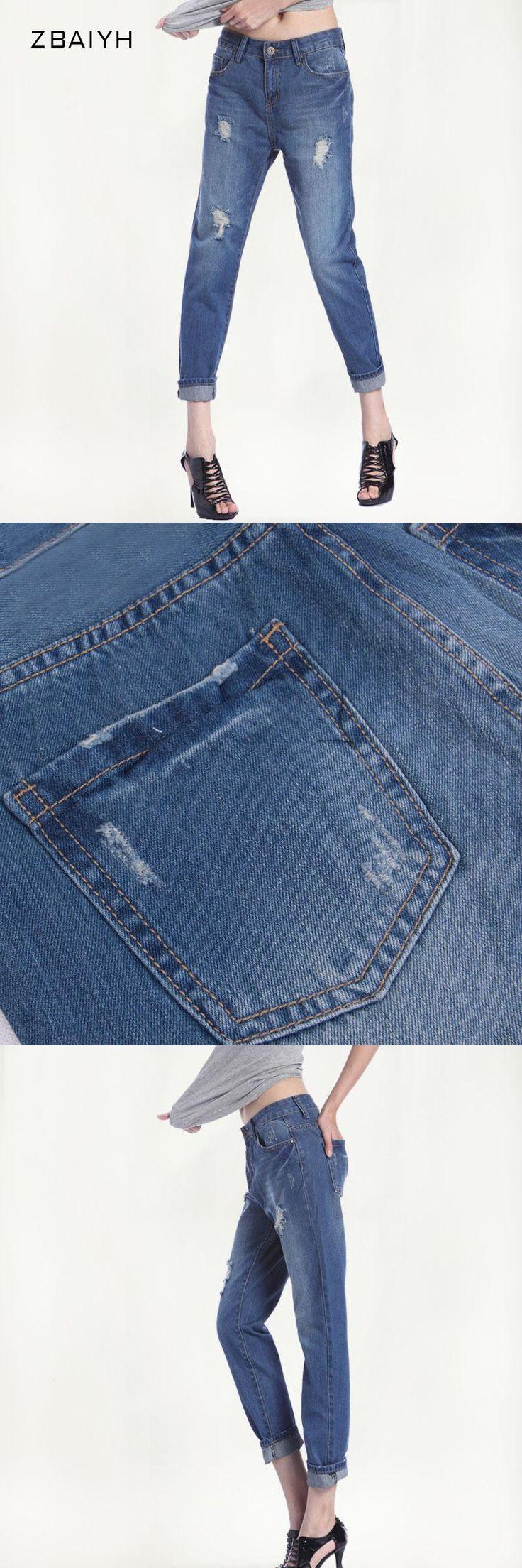 ZBAIYH High Waist Jeans Women 2017 Autumn Hole Retro Jean Boyfriend Femme Vaqueros Mujer Plus Size Jeans For Womens Denim Pants