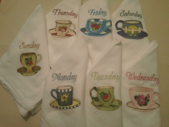 machine embroidered tea towels - Days of the Week