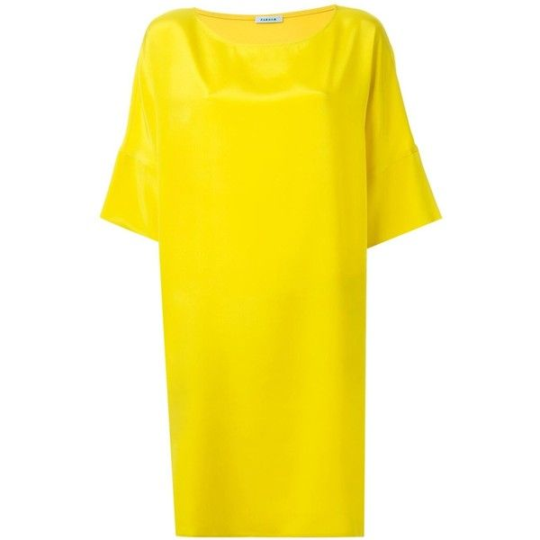 P.A.R.O.S.H. loose fit dress ($415) ❤ liked on Polyvore featuring dresses, yellow, yellow dress, loose dresses, loose fitting dresses, loose fit dress and loose fitted dresses