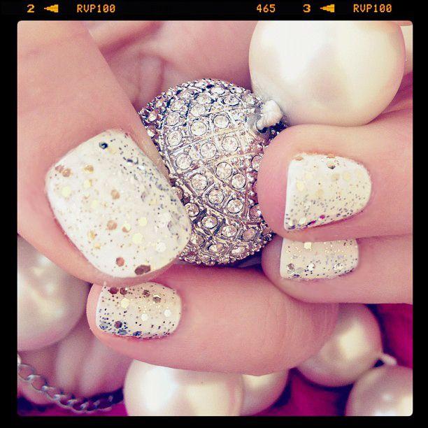 Silver & Gold glitter on white nail polish