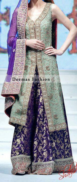 Latest Walima Dress Pistachio Green Purple Sharara I don't like this style that much but I LOVE the colour combination