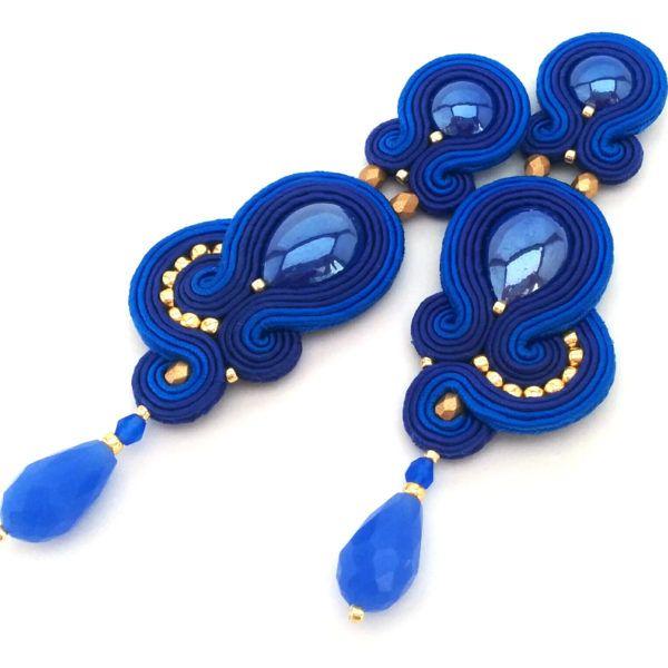 Soutache earrings - Statement earrings - Soutache jewelry - Royal blue wedding jewelry   SABO Design