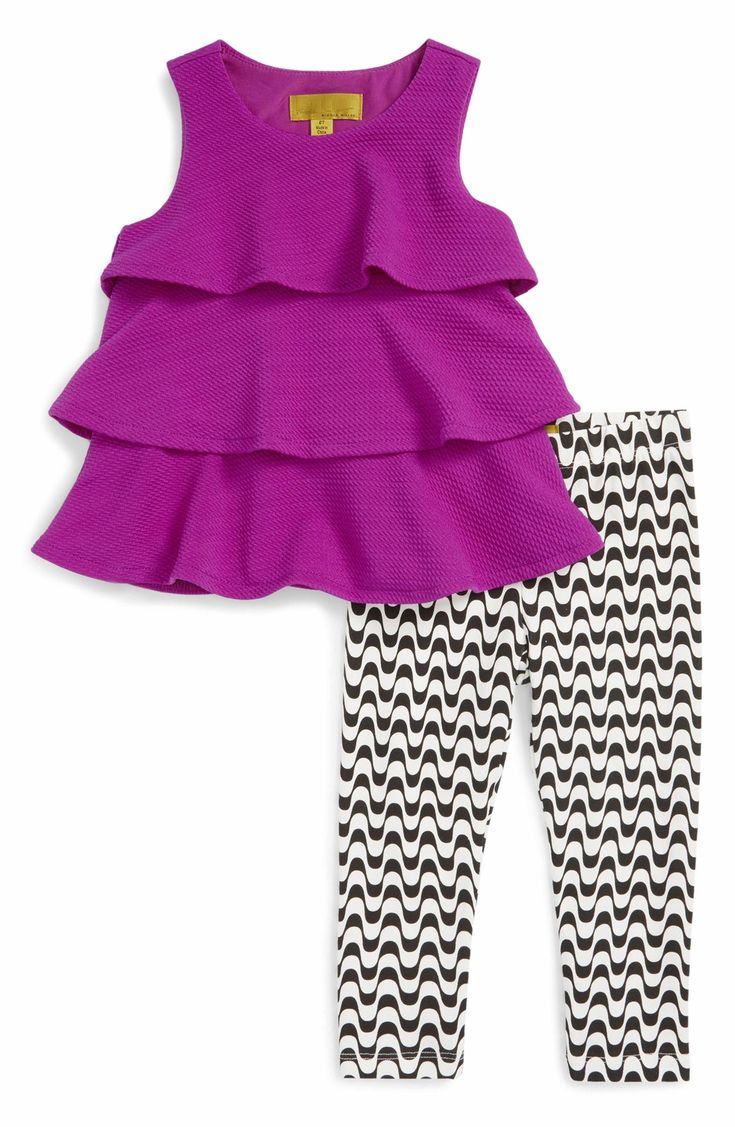 Main Image - Nicole Miller Knit Ruffle Top & Print Leggings Set (Toddler Girls & Little Girls)
