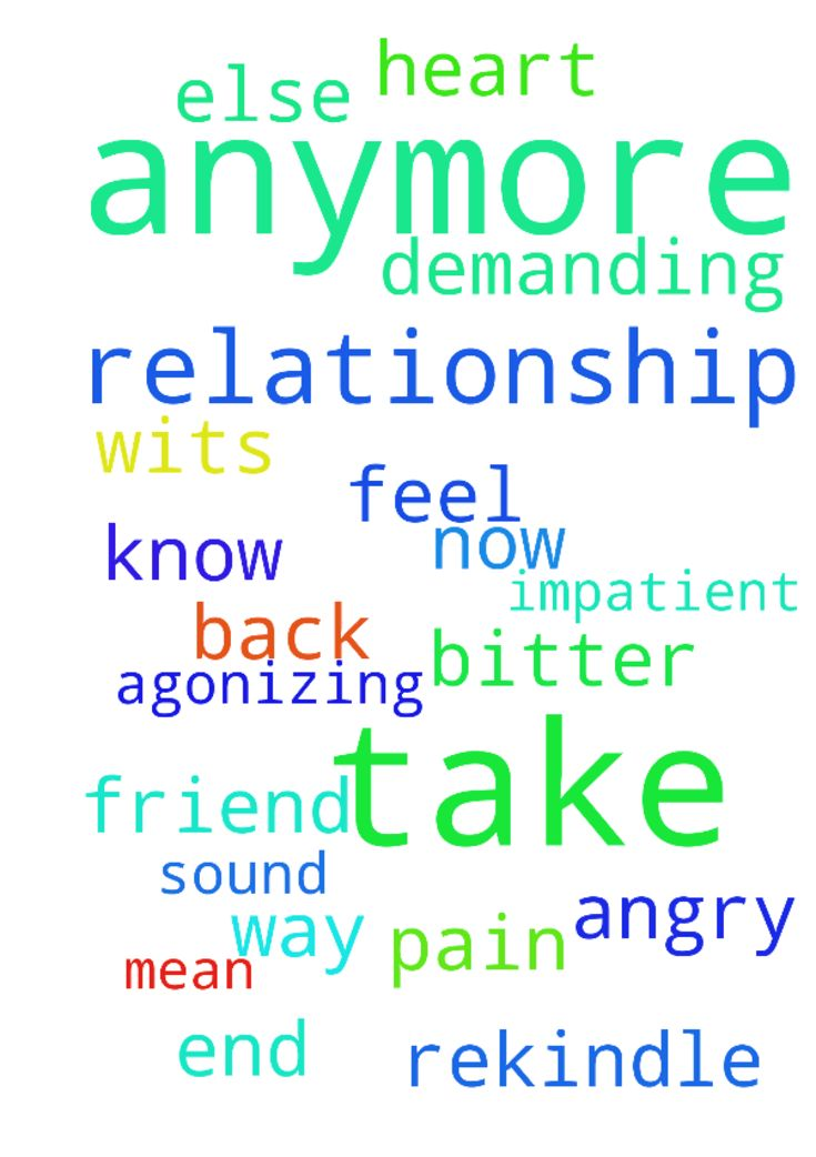 I can't take it anymore -  I cannot take this on and off relationship anymore. I need to rekindle my relationship. I am at my wits end. I feel so bitter, angry and impatient. I can't just be his friend for now. I need is back to way we were. I don't mean to sound demanding but my heart is in agonizing pain. I don't know what else to do.�  Posted at: https://prayerrequest.com/t/i9b #pray #prayer #request #prayerrequest