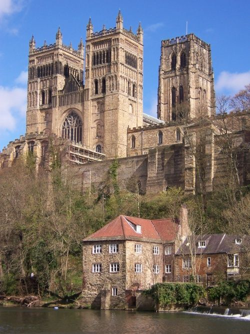 NORMAN architecture (English Romanesque) Durham Cathedral with the Mill below (begun 1093 and largely completed within 40 years)
