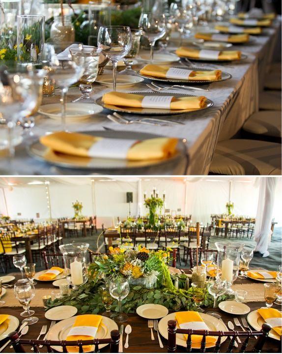 Jillian + Tim {California Wedding}: Grey Wedding, Add Colors, Myrtle Beaches, Amazing Yellow, Yellow Grey, White Beaches, January Beaches Wedding, Colors Napkins, Yellow Beaches Inspiration