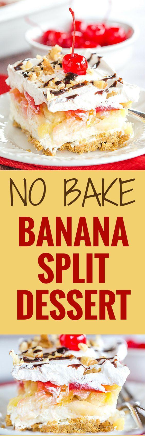 No-Bake Banana Split Dessert – Graham cracker crust cream cheese bananas pineapple strawberries whipped cream nuts chocolate and a cherry on top!