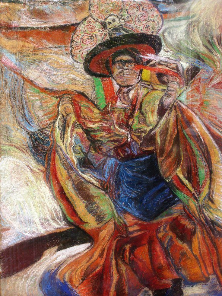 Blackheaddancer, Buddhist monk dances on Zanskar festival, made by Sanneke Griepink, 1996, pastel on ricepaper