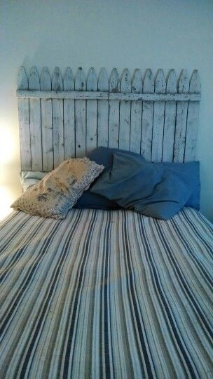 Picket fence headboard from two fence panels = $40.00
