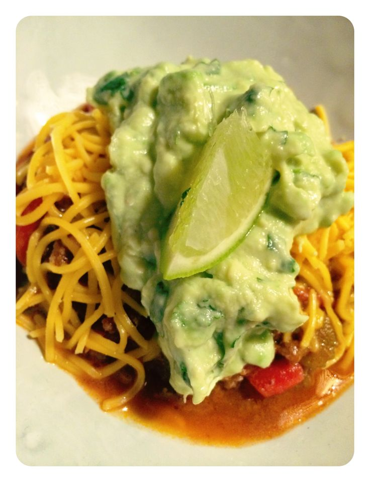 Cheese Spagetti Bolognaise served with Corriander & Lime Guacamole