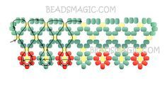 Free pattern for necklace Herbal | Beads Magic 2 colours - seed beads 11/0