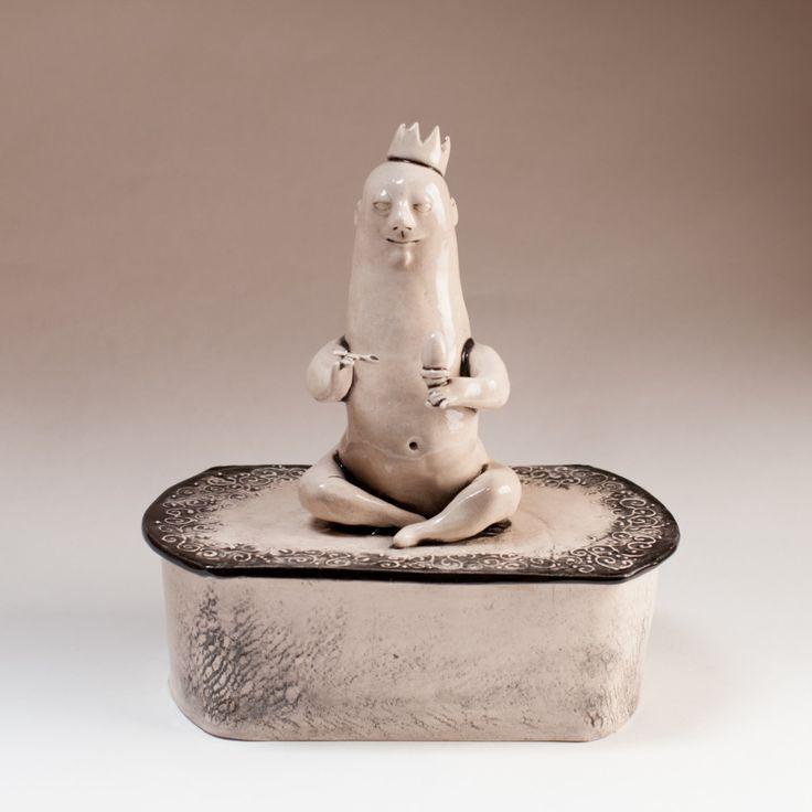 """Ceramic jewelry box """"Breakfast King"""". by KuklaArt on Etsy"""