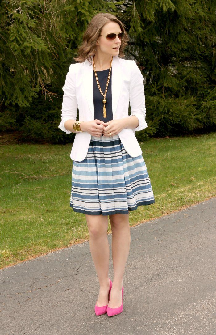 Nautical-like spring outfit styled by @PPF Girl featuring a thrifted top and striped skirt from Savers