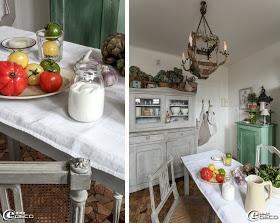 Lustre 'Coquecigrues', ancien vaisselier orné d'objets chinés et de paniers en osier remplis d'hortensias séchés. Décor de Bénédicte Patin du Couvent des Roses