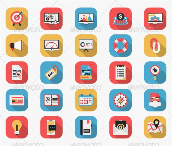 Long Shadow Flat Icons – SEO and Web Icons Set (Technology ...