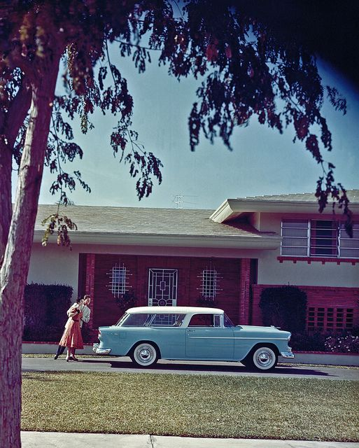 """U.S. Chevrolet Nomad 2 Door Station Wagon, 1955. """"When it came to cars, General Motors was the undisputed king of the mid-century road and the American Dream was paved with Chevys.  By the mid 1950s more and more suburban families were buying a second car. Once considered a luxury it was now a necessity for suburban living, just one more component of the American Dream."""" (from http://envisioningtheamericandream.com)"""